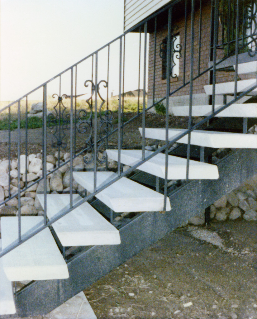 Iron Anvil Stairs Double Stringer Treads Concrete Smooth